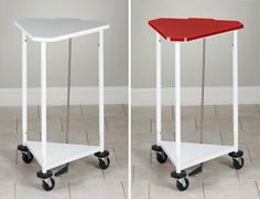"""CLINTON HAMPERS 18"""" triangular hamper with lid Item# H-43 by Clinton Kangoo. $204.60. H-43 18"""" 32"""" White H-43R 18"""" 32"""" Red  Ultra-Durable white powder-coated finish Space saver triangular design Foot operated tilt lid with bumper Base bumper guards for wall protection Easy to use extra wide chrome foot peddle Solid heavy gauge shelf keeps bags elevated 3"""" easy-roll swivel ball bearing casters Rigid construction with all-welded base and top frame Accommodates 18"""" diameter..."""