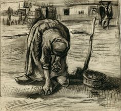 Vincent van Gogh (1853-1890), Peasant woman planting potatoes, 1885, Black chalk over charcoal on ribbed, hand-made paper (watermark: shield with lily and the initials HFDC), highlighted with eraser, partially washed, 417 x 453 mm, Signed and inscribed at lower left: Vincent / Planteuse de pommes de terre   Städel Museum, Frankfurt am Main, Photo: Ursula Edelmann.