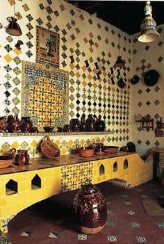 Yellow and blue tile in kitchen.  Melba Levick photo, Mexicocina.  Would be a scaled-down version if I were to do this.