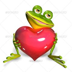 Buy Frog with Heart by brux on GraphicRiver. Frog with heart illustration merry green frog with red heart JPEG PNG JPEG created in max Frosch Illustration, Heart Illustration, Funny Frogs, Cute Frogs, Funny Frog Pictures, Tree Frog Tattoos, Frog Rock, Frog Art, Green Frog