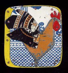Jane Wells Harrison - Chicken Badge  riveted tin