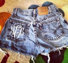 Monogrammed Cut Off Denium Shorts usually don't like monogrammed stuff but this is actually really really cute