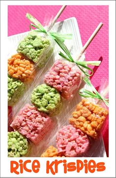 Rice krispie skewers-- change the colors for different Holidays :)