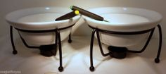 Fondu Pots Two with Dipping Forks Candle Base Holders