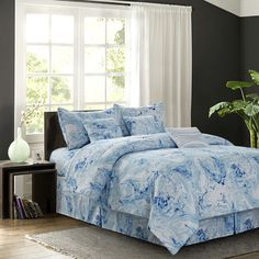 Carrera Blue King Comforter Set - The Home Depot Beach Comforter, Full Comforter Sets, Bed Sets, Bedding Sets, Blue Comforter, Queen Bedding, Home Depot, Console, Bed In A Bag