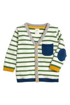 Fine-knit, V-neck cotton cardigan. Buttons and pocket at front and contrasting elbow patches. Baby Shower Outfit For Guest, Maternity Dresses For Baby Shower, Cute Outfits For Kids, Baby Boy Outfits, Baby Boy Tops, Baby Boys, Toddler Boys, Pull Bebe, Solange