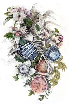 Bologna-based Italian artistNunzio Paci(previously here and here) produces hauntingly detailed paintingsthat combine anatomical renderings with multi-colored blossoms and leaves. His latest series,Mimesis, is inspired by the idea of species evolving together over time, and the similarities share