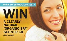Enter our #contest for a chance to #WIN a Clearly Natural #Organic #spa travel set.  #Backtoschool