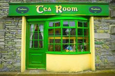 Store front in Westport, Ireland - It is called a Tea Room but there is a coffee also, in some back room. Westport is a 17th century planned town, nominated as Irelands best kept town and the nicest place to live in Ireland in 2012. It was also Irelands tidiest town in 2001, 2006 & 2008. Guests have been coming to Westport and to Rockville for many years now.