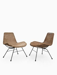 Enameled Metal and Rattan Lounge Chairs, 1950s.