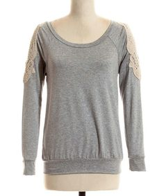 Love this Heather Gray Crocheted Embellished Raglan by Coveted Clothing on #zulily! #zulilyfinds