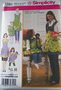 "Simplicity pattern #3746                  Mouse over image to zoom                Have one to sell? 	Sell it yourself       Details about  UNCUT CHILDS, MISSES' AND 18"" DOLL APRONS SIZE 8 CHILD 18 ADULT"