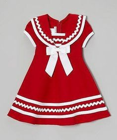 Look at this Gerson & Gerson Red & White Sailor Dress - Infant, Toddler & Girls by Gerson & Gerson Mayb a cmas dress? great use of rickrack This lightweight frock's zipper back makes changing as easy as an ocean breeze. I bet I can recreate this one. Little Girl Outfits, Cute Outfits For Kids, Toddler Girl Dresses, Little Girl Dresses, Toddler Outfits, Toddler Girls, Infant Toddler, Vestidos Color Rojo, Girl Dress Patterns