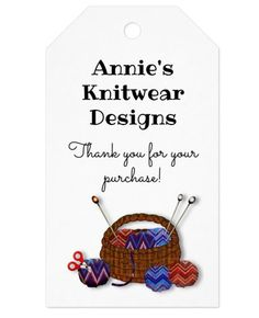 Tie on tags for knitting business, knitwear designer, to say thank you to customers. Customize text in two places. Yarn basket with balls of yarn decorates the front. Text on the back could have washing instructions. #yarnbusiness #knitweardesigner #knittingtags #tieontags