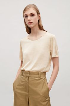 COS image 14 of Silk jersey t-shirt in Sand