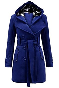 URqueen Women s Belted Double Breasted Lapel Wool Trench Coat Blue S  Ceinture, Blouson Femme, 7910f00621b5