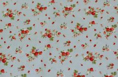 0,5 Meter of Blue Strawberry and Dots Pattern Cotton Fabric