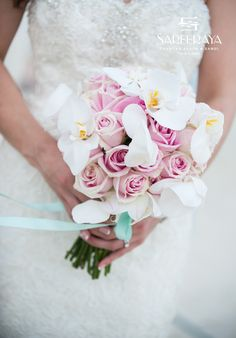 Bridal Bouquet Pink Roses and White Phalaenopsis Orchids