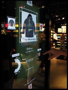 Magic Mirror RFID Interface by Franco Roncoroni, via Behance Interactive Mirror, Interactive Display, Interactive Installation, Interactive Design, Display Design, Store Design, Booth Design, Online To Offline, Holographic Displays