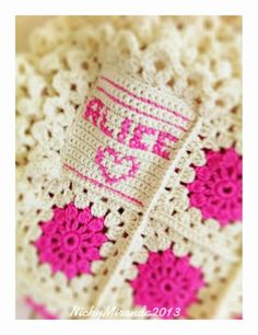 Cute idea, give your blanket a personal touch with a name with a name square. Made by Nicky Miranda.