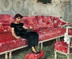 Helene Schjerfbeck - Girl on a Red Sofa, 1882, Oil on canvas