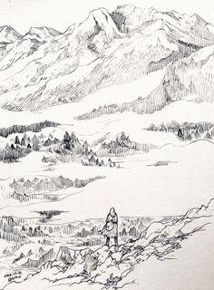 landscape sketch Middle earth traveler The misty mountains Landscape Sketch, Landscape Drawings, Landscape Art, Landscapes, Mountain Sketch, Mountain Drawing, Nature Sketch, Nature Drawing, Earth Drawings