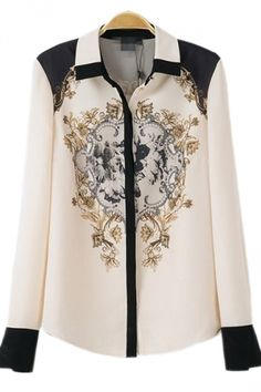 White Abstract Printing Womens Chiffon Blouse Ladies Blouses