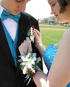Our Football Roses, made from ball covering leather, can be purchased as a boutonniere or in long stem variations for Homecoming or Proms.  Check out our website for more details at SportsThemedWeddings.com  #stwdotcom