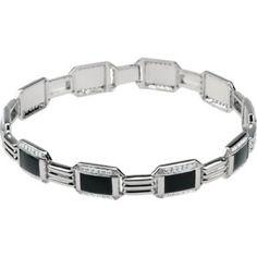 Men's 1 1/2 Cttw Diamond with Black Enamel Bracelet