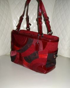 I'm auctioning '**RARE** Limited Edition COACH Gallery Red Patchwork Tote Bag ' on #tophatter