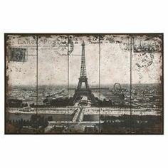 """Parisian skyline metal wall art with a carte postale motif and weathered details.Product: Wall artConstruction Material: MetalDimensions: 31"""" H x 48"""" W x 1.5"""" D Cleaning and Care: Wipe with dry cloth"""