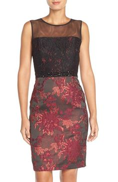 Adrianna Papell Embellished Lace & Jacquard Sheath Dress available at #Nordstrom