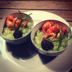 LoVeFood! Selfmade green gazpacho&crayfish!!