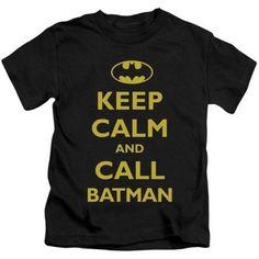 Trevco Batman-Call Batman - Short Sleeve Juvenile 18-1 Tee - Black, Large 7, Boy's, As Shown