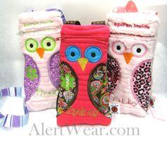 Personalized Owl Epi-Pen / Medicine Pack / Epi-Pen Case / Purse www.alertwear.com