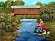 Fishing Bunker Hill Covered Bridge North Carolina Man Boy Basset Hound Dog River Country Scene Americana Folk Art Artist Arie R Taylor by jagartist on Etsy