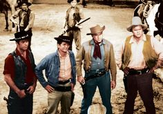 Still of Lorne Greene, Michael Landon, Dan Blocker and Pernell Roberts in Bonanza