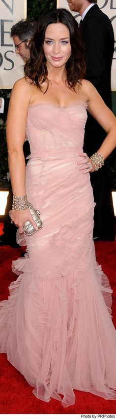 Emily Blunt Wearing Pink Dolce & Gabbana Gownto the 67th Annual Golden Globe Awards  on Jan. 17, 2010