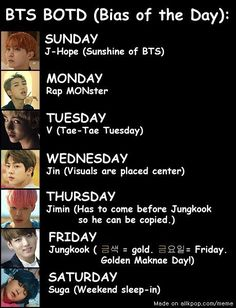 "Solution to the ""I can't choose a BTS bias"" problem >>> it's funny cause in Japanese Friday is Gold day as well!!!"