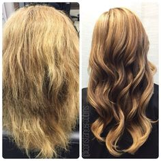 Before and after Olaplex on blonde hair. You can see the transformation!! Done