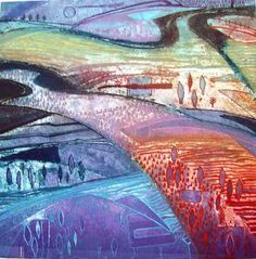 Forest and Fields by Gayle Robinson 2007 collagraph varied edition