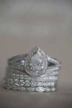 like the stacked wedding bands - skinny and different styles. would be interesting...