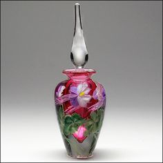 Salazar Lundberg Studio Art Glass Sommerso Paperweight Floral Perfume Bottle