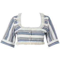 Gül Hürgel     Striped Scoop Neckline Cropped Top ($275) ❤ liked on Polyvore featuring tops, gul hurgel, stripe, white crop top, cut-out crop tops, stripe top, striped top and white scoop neck top