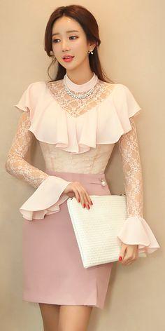 StyleOnme_Gold Ribbon and Pearl Accent Pencil Skirt #pearl #pastel #pink #feminine #elegant #lace #koreanfashion #seoul #kfashion #kstyle #skirt