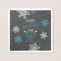 Snowflakes Christmas Xmas Grey Turquoise Napkin