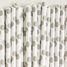 Paper Straws: Baby Gray Dots (($))