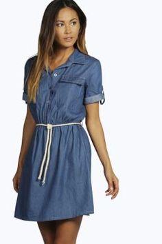 Louise Tie Waist Utility Denim Shirt Dress