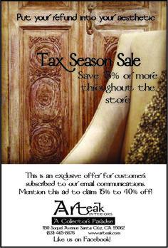 Tax Season Sale  throughout April