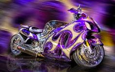 Crazy colors … Suzuki Hayabusa pinned onto Motorcycles Board in Cars & Motorcycles Category Suzuki Hayabusa, Purple Motorcycle, Course Moto, Side Car, Custom Sport Bikes, Suzuki Motorcycle, Motorcycle Cake, Motorcycle Camping, Cars Motorcycles